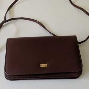 Buxton leather built-in wallet crossbody purse